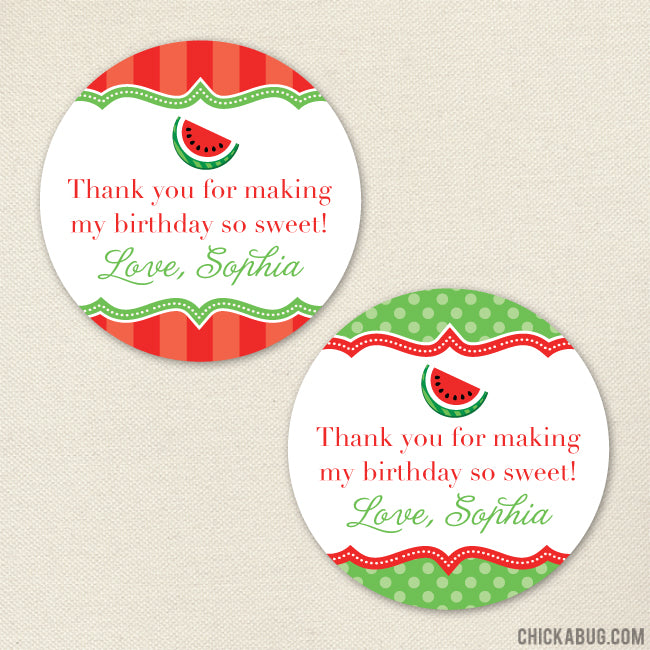 Red Watermelon Party Favor Stickers