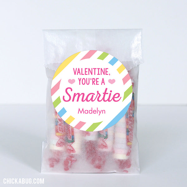 """You're a Smartie"" Valentine's Day Stickers (Pastel)"