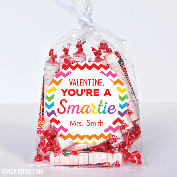 """You're a Smartie"" Valentine's Day Stickers (Rainbow)"