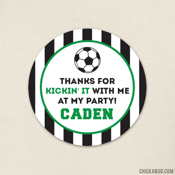 Green Soccer Party Favor Stickers