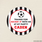 Red Soccer Party Favor Stickers