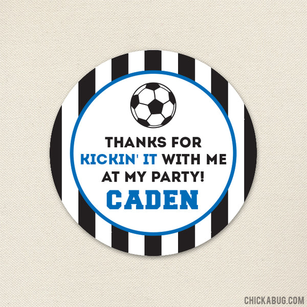 Blue Soccer Party Favor Stickers
