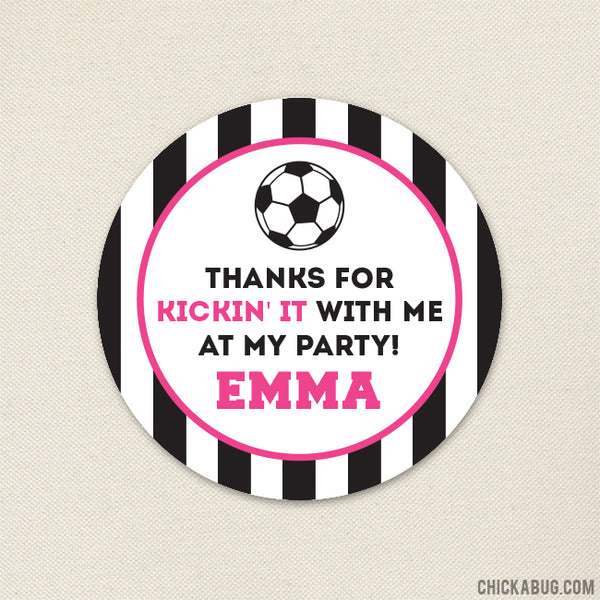 Pink Soccer Party Favor Stickers