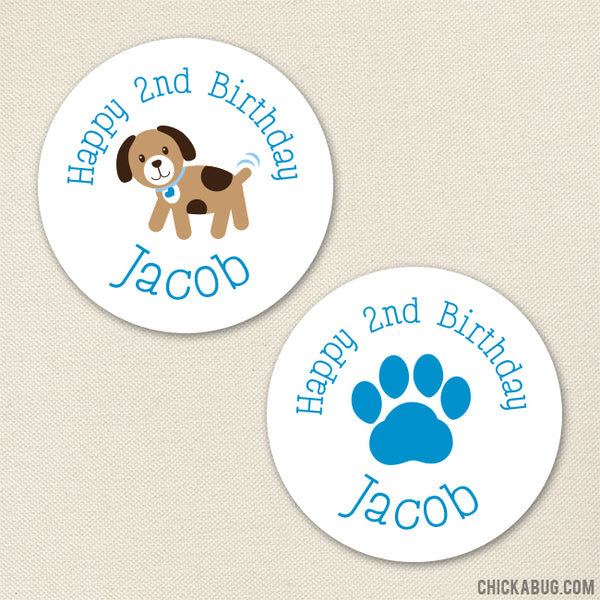 Blue Puppy Birthday Stickers