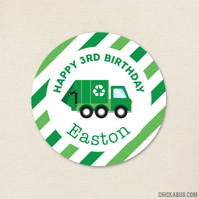 Garbage Truck Birthday Stickers