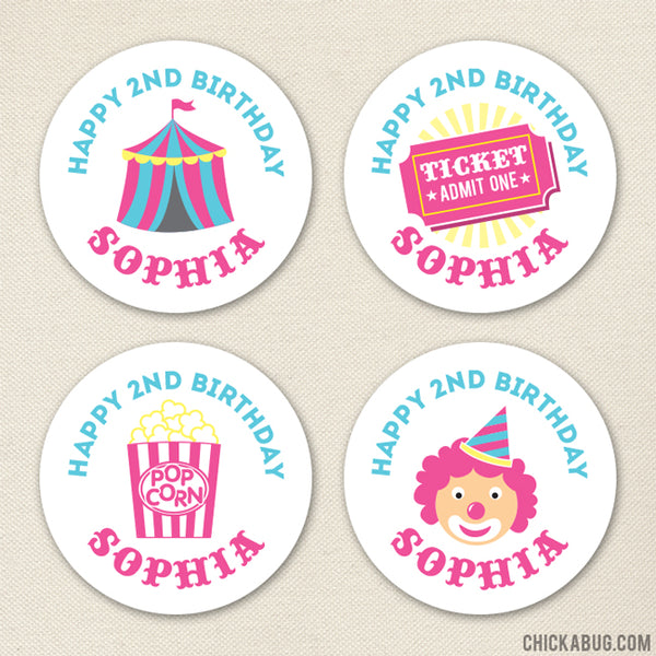 Pink Carnival Birthday Stickers