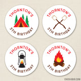Camping Birthday Stickers