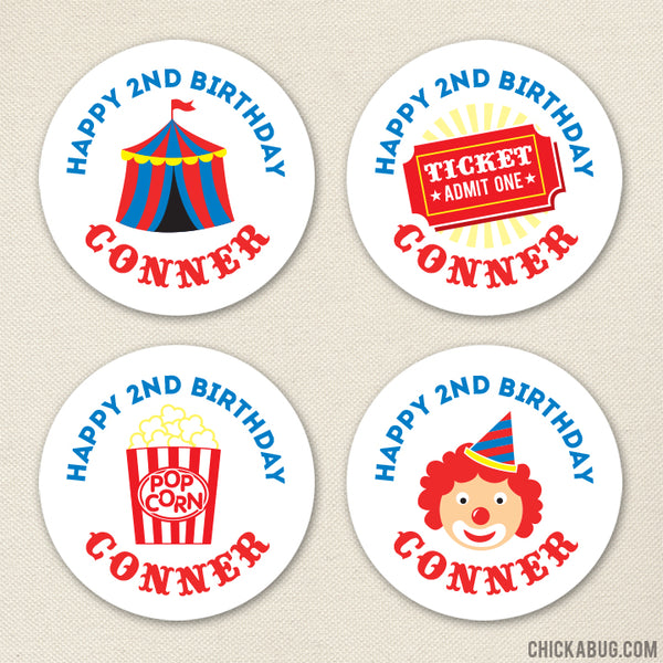 Carnival Birthday Party Stickers