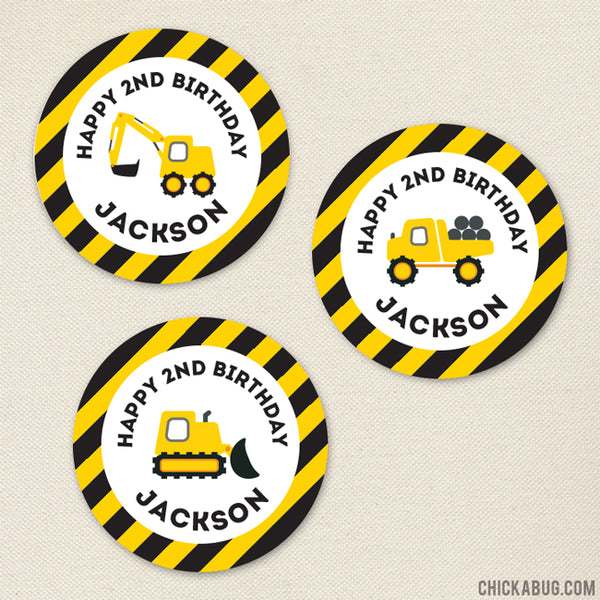 Construction Birthday Stickers