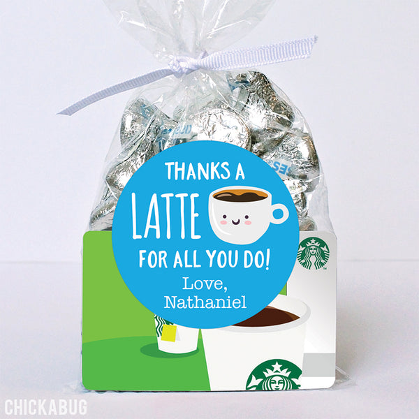 "Blue ""Thanks a Latte"" Appreciation Stickers"