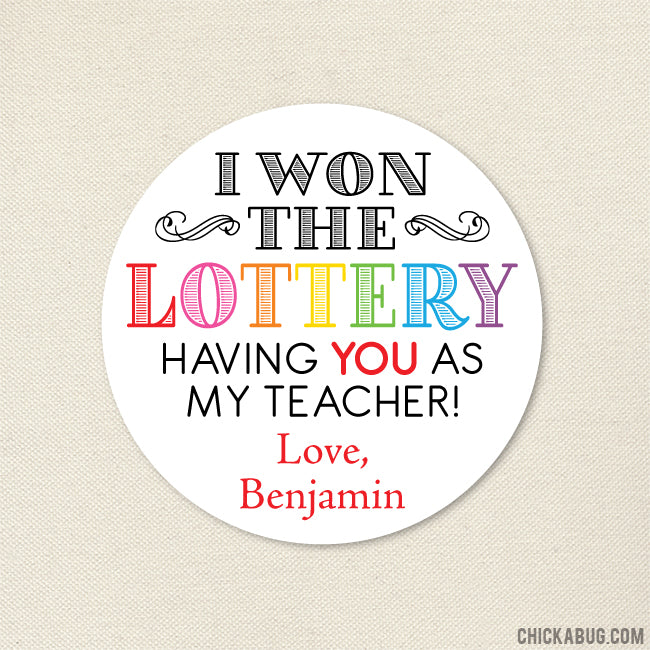 Lottery Teacher Appreciation Stickers