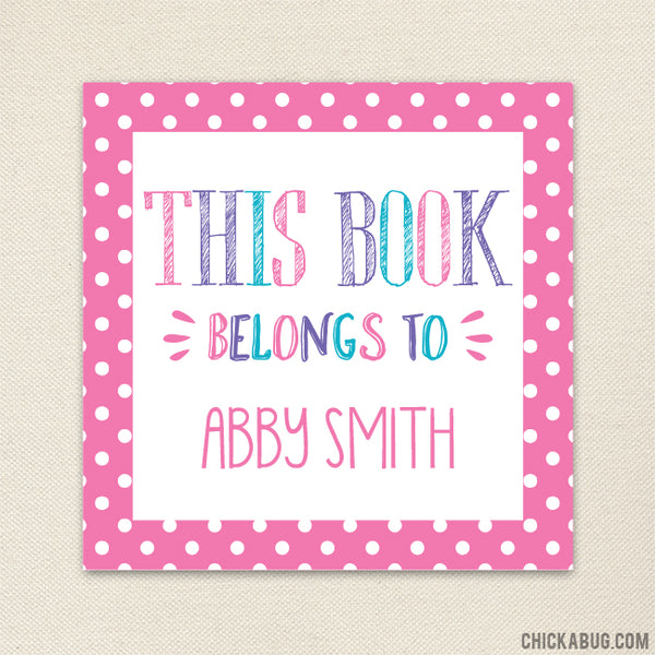"Pink ""This Book Belongs To"" Labels"