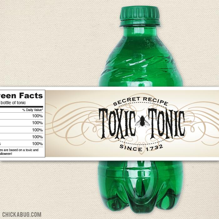 """Toxic Tonic"" Halloween Drink Labels"