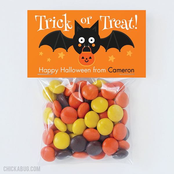 "Cute Bat ""Trick or Treat"" Halloween Paper Tags and Bags"