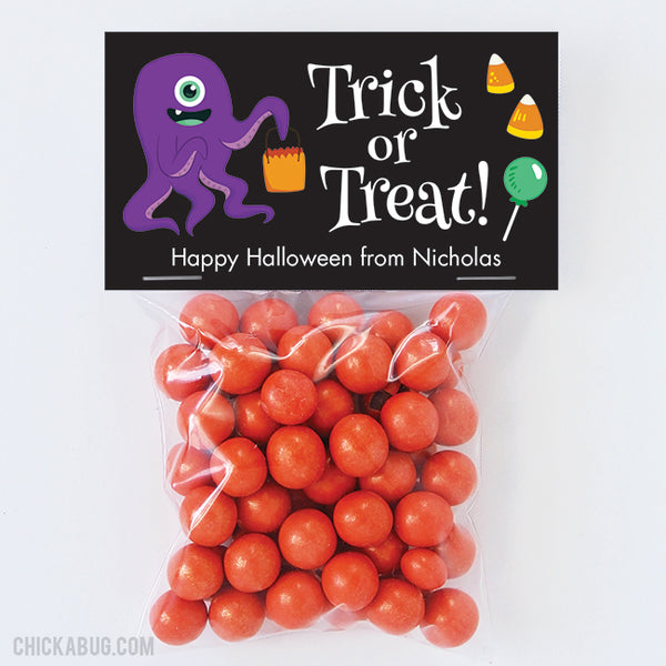 "Cute Monster ""Trick or Treat"" Halloween Paper Tags and Bags"