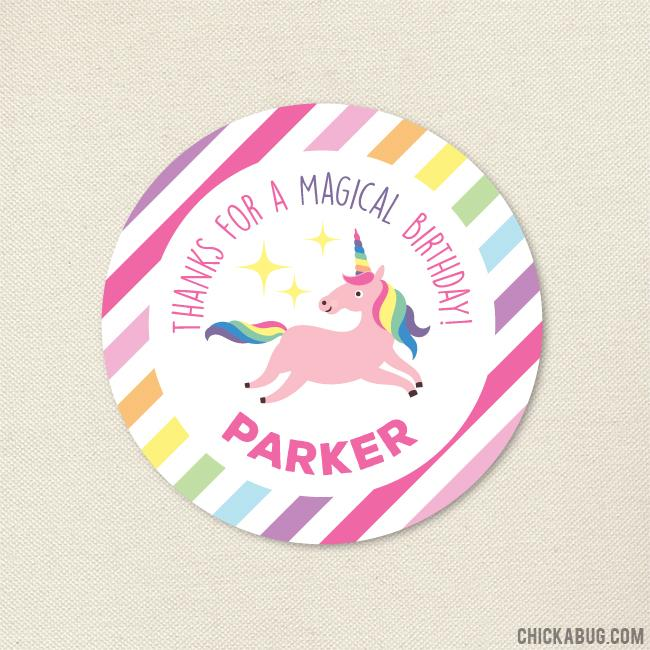 Unicorn Party Favor Stickers