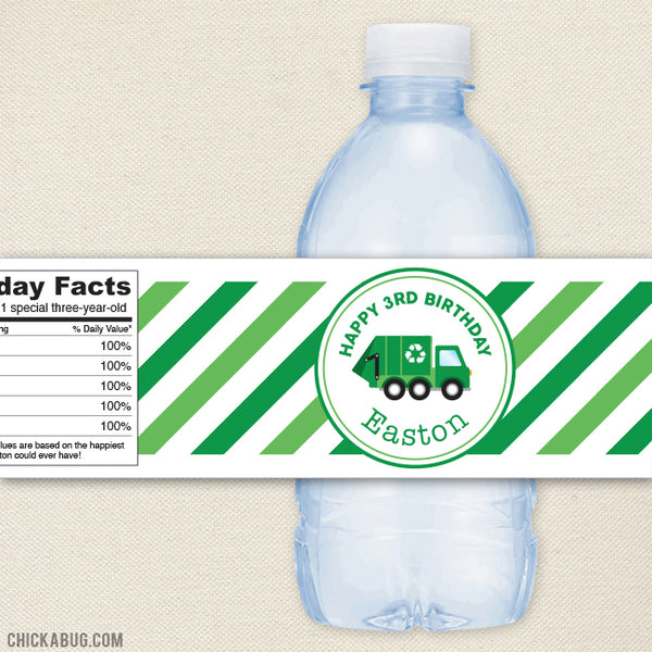Garbage Truck Water Bottle Labels