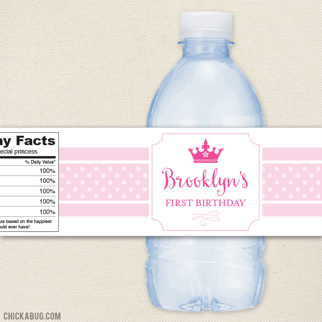 Princess Water Bottle Labels