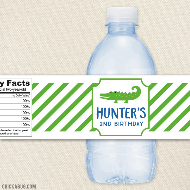 Alligator Water Bottle Labels
