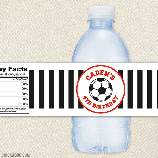 Red Soccer Water Bottle Labels