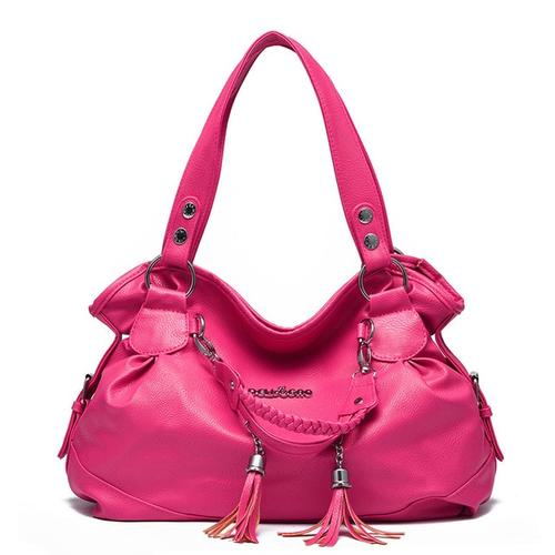 New Stylish PU Leather Pink Color Woman Handbag