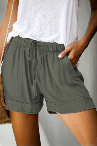 Pocketed tencel shorts-olive