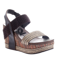 Load image into Gallery viewer, OTBT - BUSHNELL in DARK BROWN FABRIC Wedge Sandals