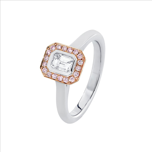 Pink & White Argyle Diamond Halo Ring 18ct White & Rose Gold