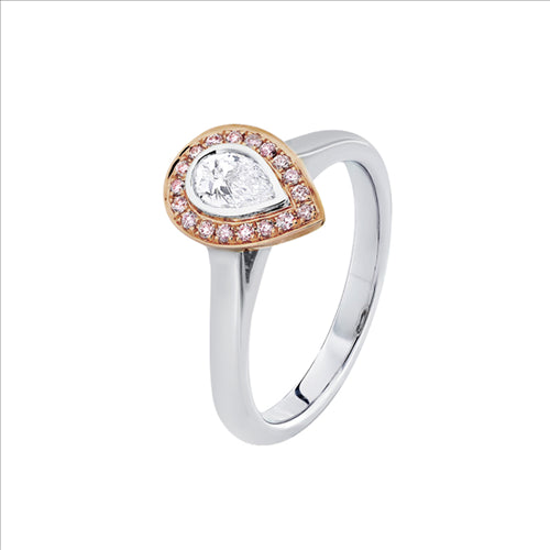 Pink & White Argyle Diamond Halo Ring 18ct Rose & White Gold