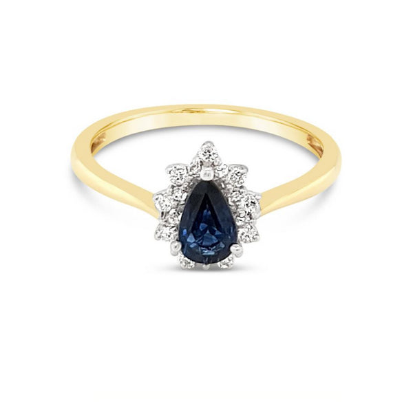 Sapphire & Diamond Pear Shape Ring 9ct Yellow & White Gold