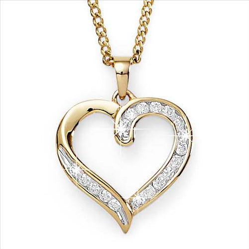 Diamond Channel Set Open Heart Pendant 9ct Yellow Gold