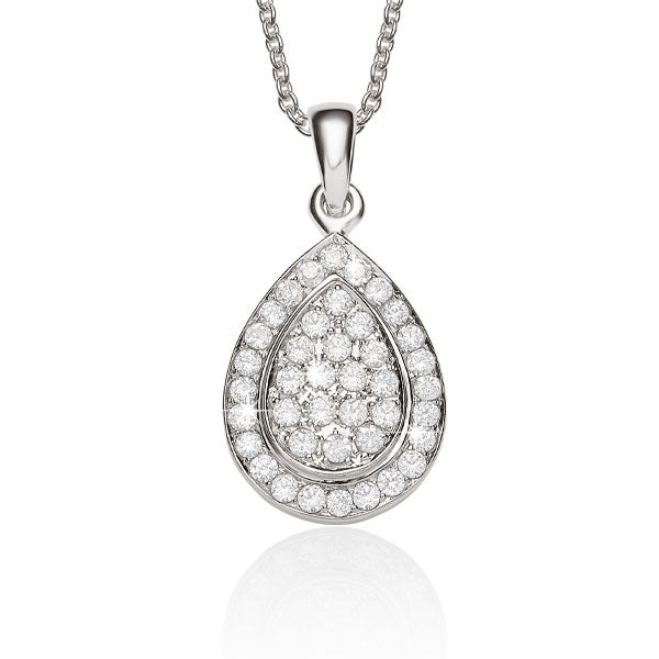 Pear Shape Cluster Pendant 9ct White Gold