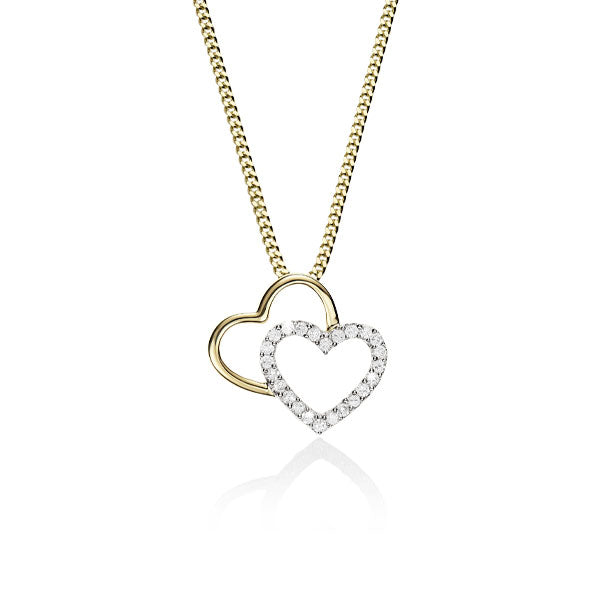 Double Heart Slider Pendant 9ct Yellow & White Gold