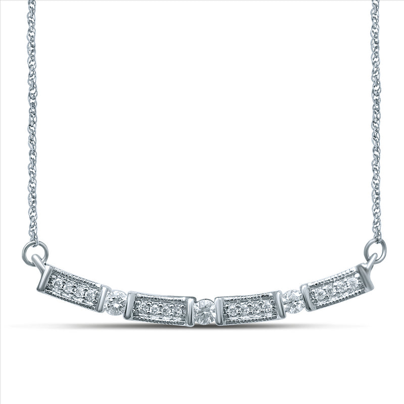 Diamond Vintage Inspired Necklet 9ct White Gold