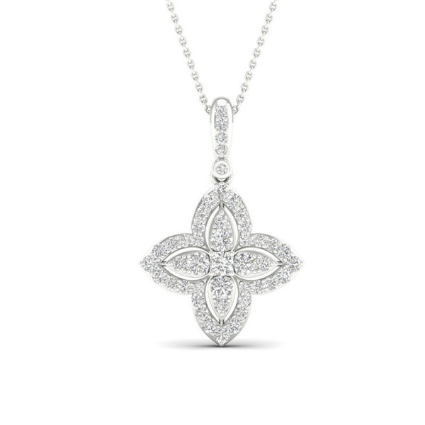 Diamond Star Halo Necklace 9ct White Gold