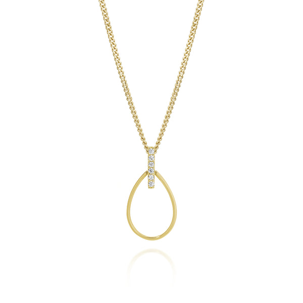 Cubic Zirconia Open Tear Drop Pendant 9ct Yellow Gold