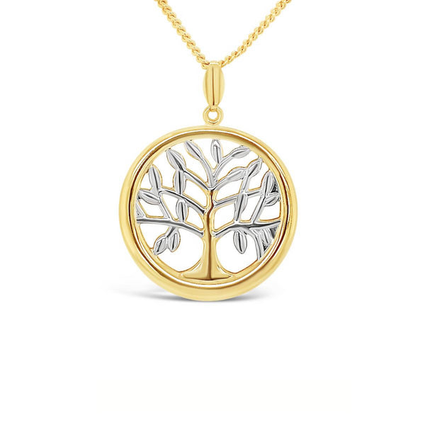 Tree Of Life Pendant 9ct Yellow & White Gold