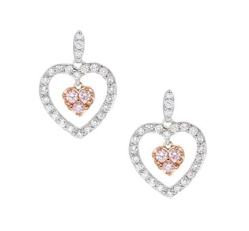 Pink & White Diamond Heart Drop Studs 18ct White & Rose Gold