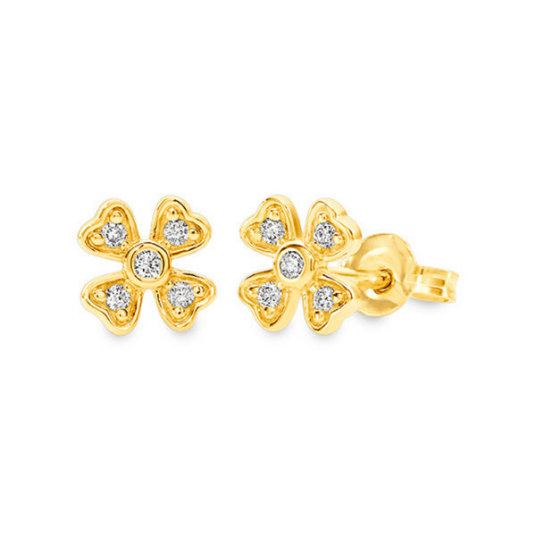 Diamond 4 Leaf Stud Earrings 9ct Yellow Gold
