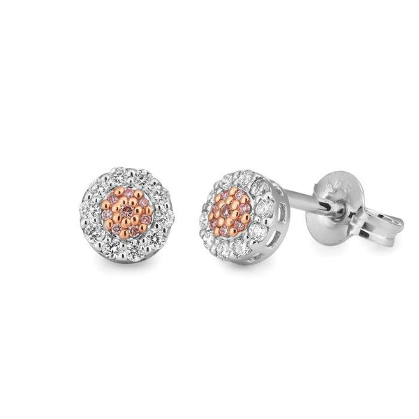 Argyle Pink And White Diamond Stud Earrings