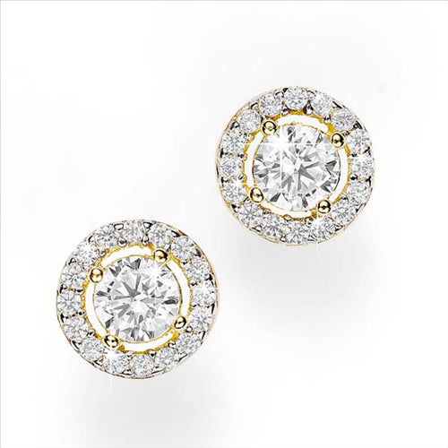 Cubic Zirconia with Pave Surround Stud Earrings 9ct Yellow Gold