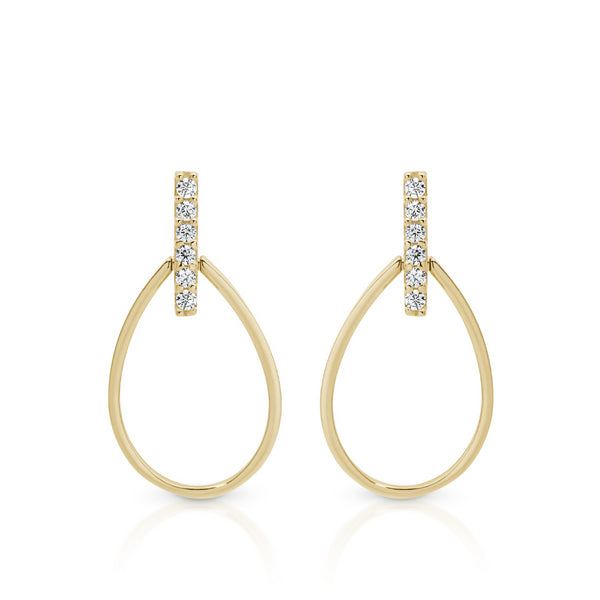 Cubic Zirconia Open Tear Drop Studs 9ct Yellow Gold