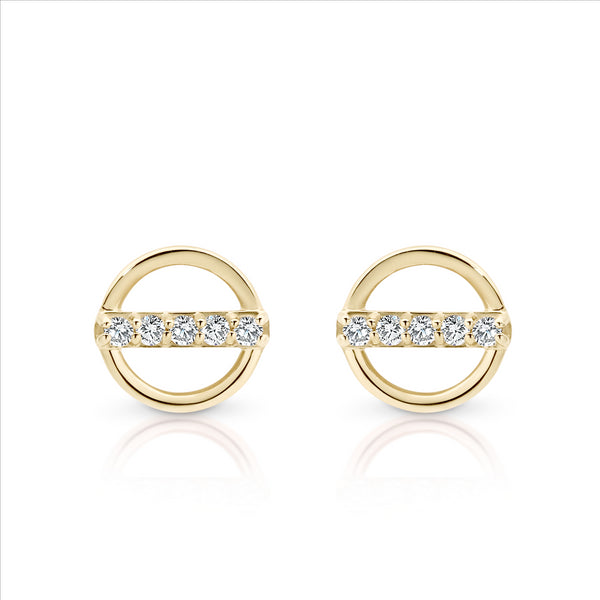 Cubic Ziconia Circle Studs 9ct Yellow Gold
