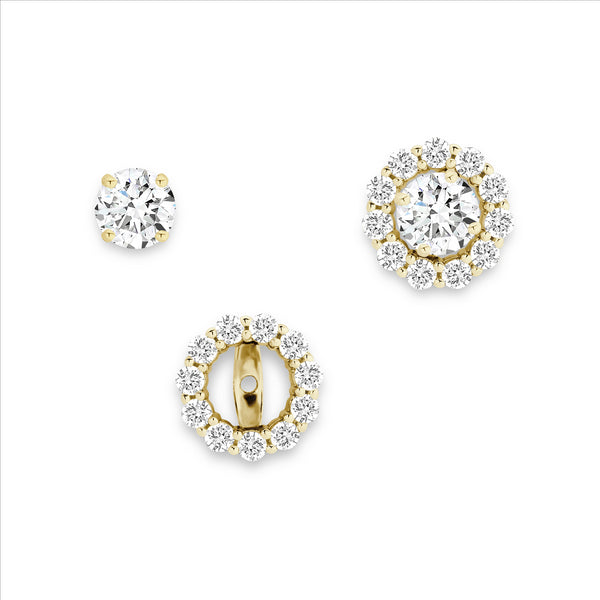 Cubic Zirconia 2 in 1 Halo Stud Earrings 9ct Yellow Gold