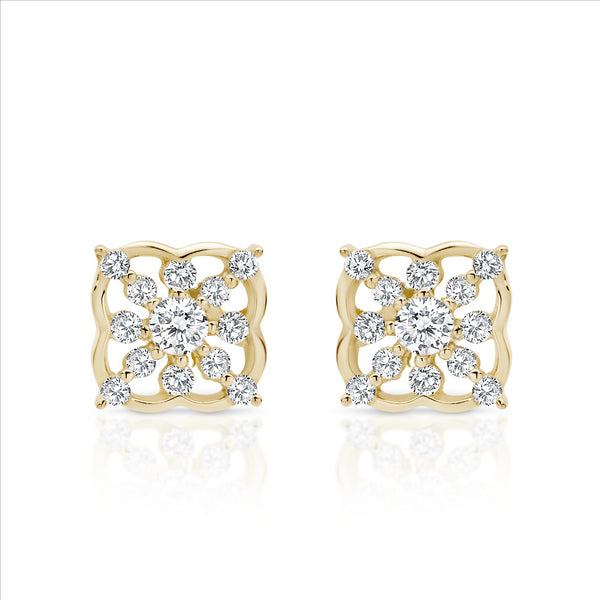 Cubic Zirconia Vintage Inspired Stud Earrings 9ct Yellow Gold