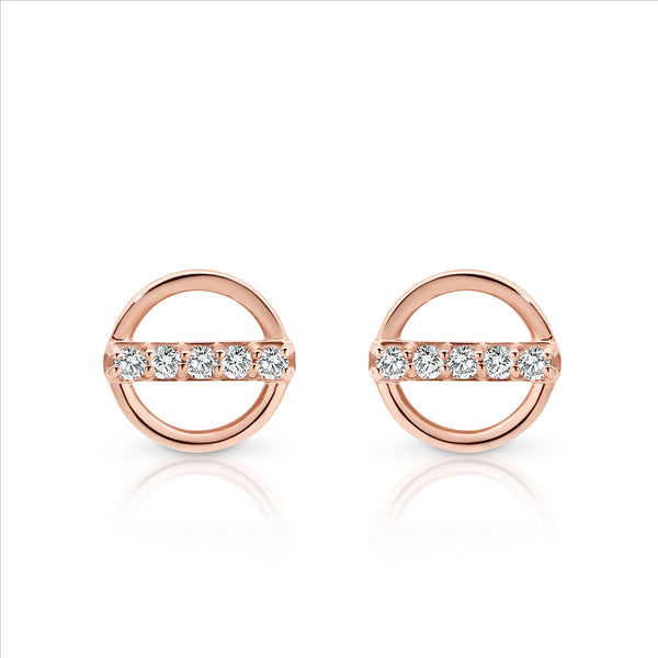 Cubic Zirconia Circle Studs 9ct Rose Gold