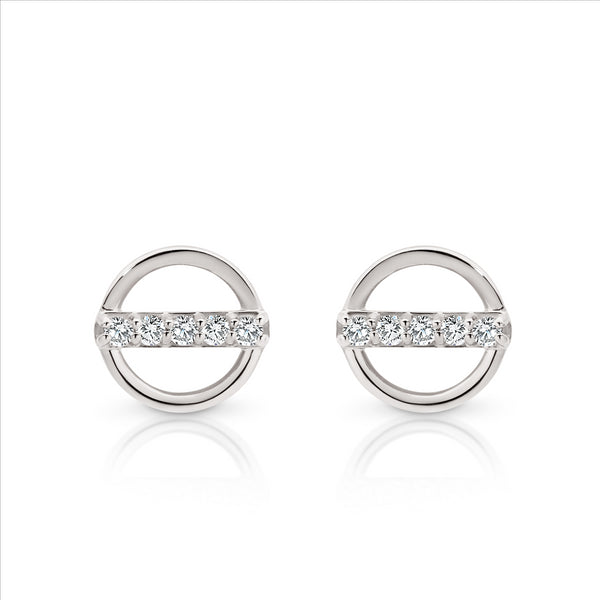 Cubic Zirconia Circle Studs 9ct White Gold