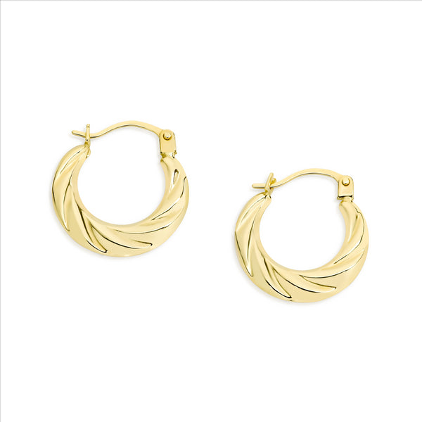 Tapered Hoop Earring 9ct Yellow Gold