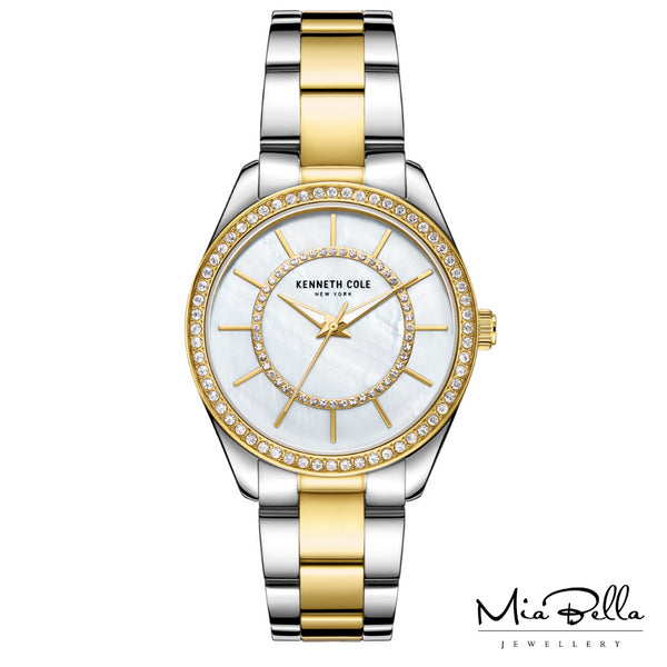 Kenneth Cole Mother of Pearl Two Tone Ladies Dress Watch