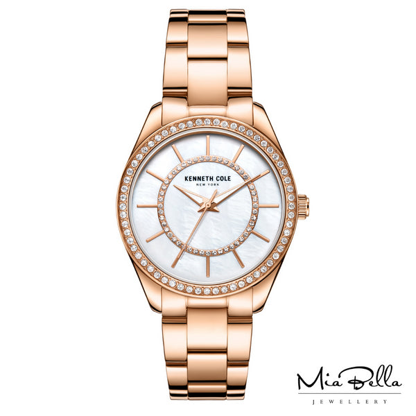 Kenneth Cole Mother of Pearl Rose Plated Ladies Dress Watch